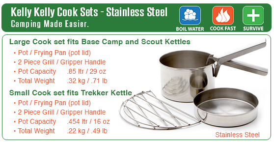 Kelly Kettle - Cook Set - Comparison of Weights, Volume etc.