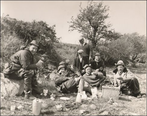 Jim Kelly in 1964 with a party of Welsh Anglers enjoying Tea from the Kelly Kettle