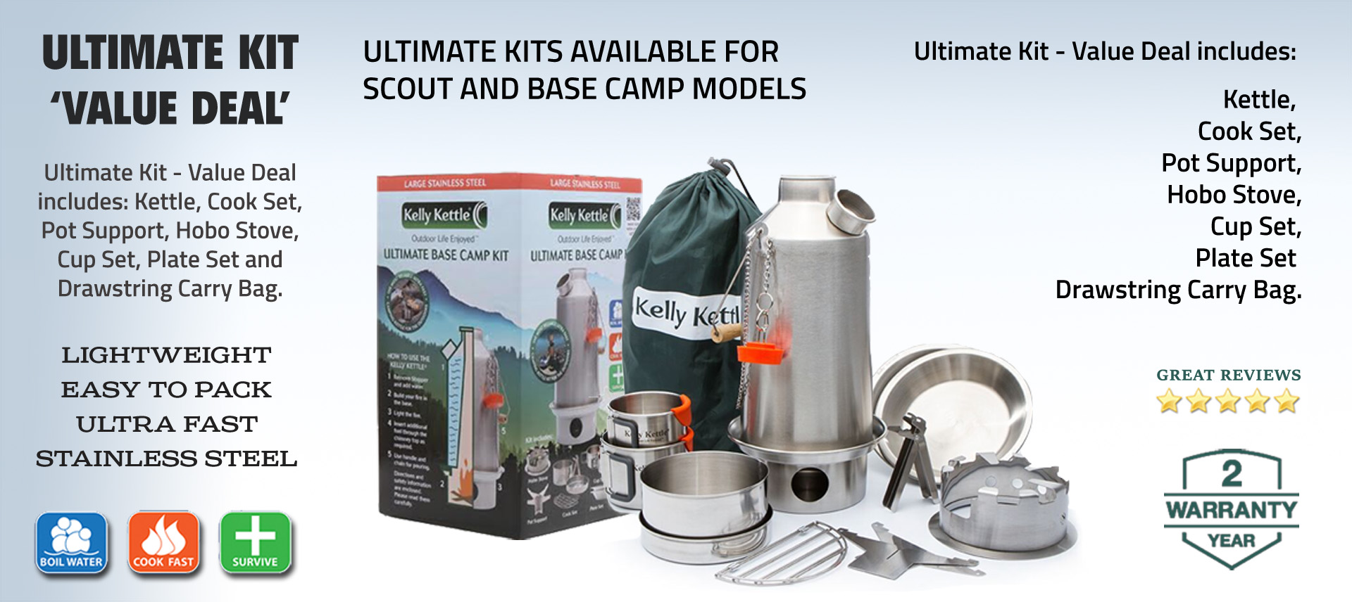 See the Kelly Kettle Ultimate Range