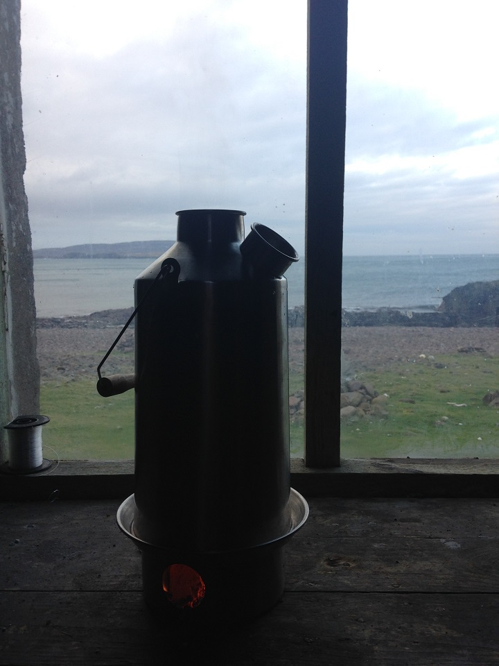 Grey skies and stormy seas on the Western Coast of the Isle of Rum (Scotland), but with a kettle on the boil!