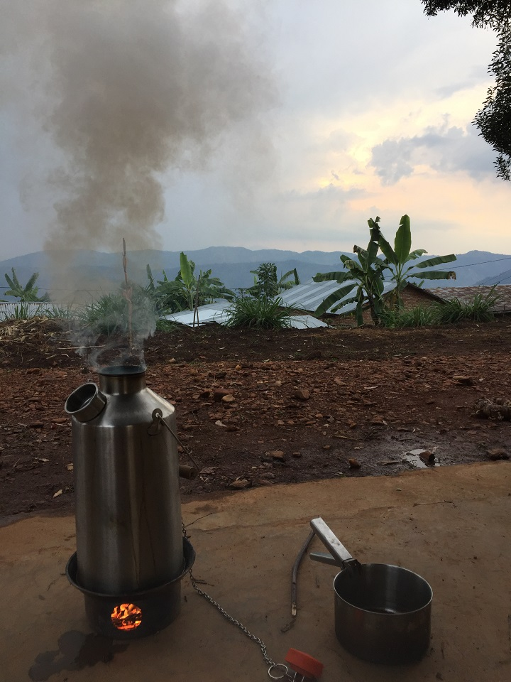 The essential, 7th member of our team - Kelly Kettle. Keeping our caffeine levels topped up during our engineering expedition in NW Rwanda (DRC in the background).
