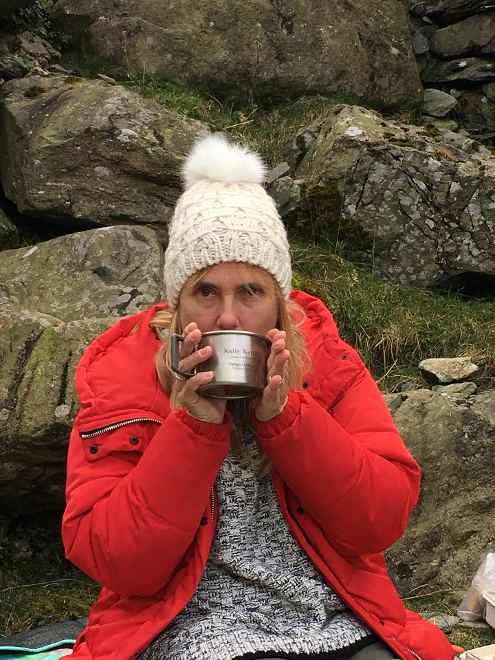 Enjoying a hot chocolate at one of the highest passes in the Lake District (U.K.). Thanks Kelly Kettle!