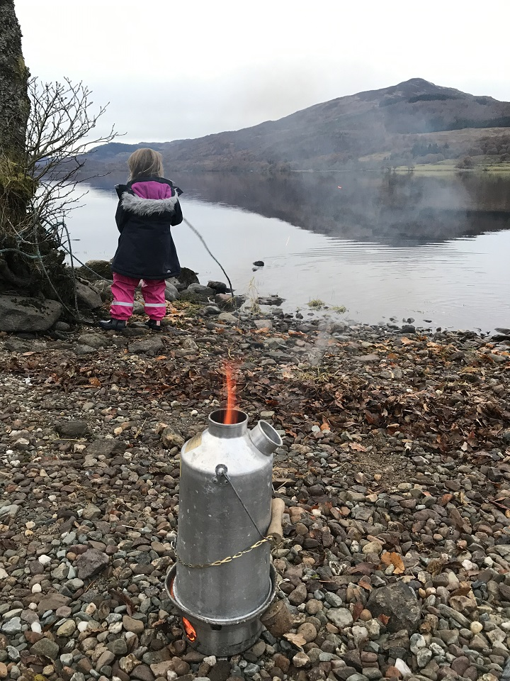 Hot chocolate for the kids on a chilly day.  Picture taken at Loch Venachar, The Trossachs, Scotland.