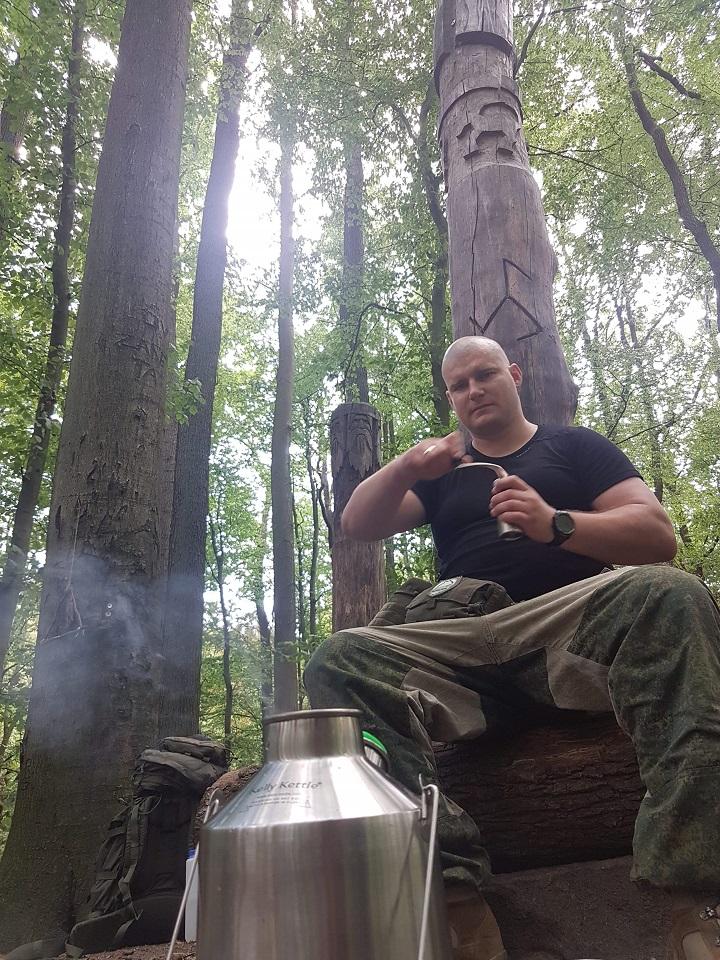Coffee break in the Slavic holy site.  Picture taken Poland- Puszcza Bukowa
