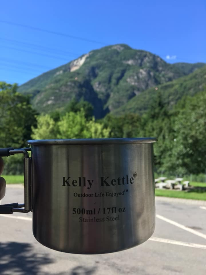 Family road trip from Scotland to Italy 2019. My dad makes the best cuppa. Where better than the Swiss mountains in our Kelly Kettle cups.