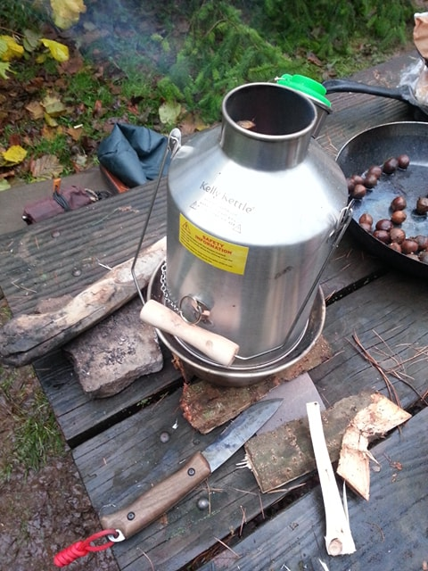 Breakfast brew up at our winter bushcraft camp this November, bannock on the the fire, Kelly Kelly on for the tea, magic!