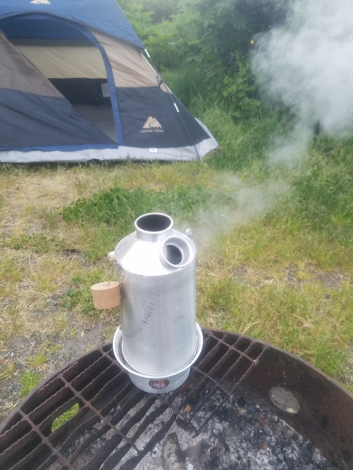 A borrowed kettle for some Alaska camping. The Kettle Kettle was a definite game changer while camping. Cant wait to get my own to use near home in Missouri! Thanks Kelly Kettle! (Pic taken Homer, Alaska)