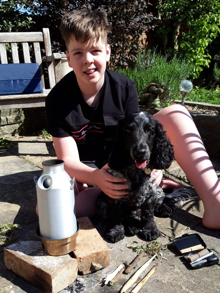Science lesson in the backyard during the lockdown! This is my son Joseph and our spaniel Poppy using the Kelly Kettle Trekker to learn some practical science while off school during the coronavirus lockdown. Homework was never this much fun before, and we got a cup of tea at the end of it! :-)