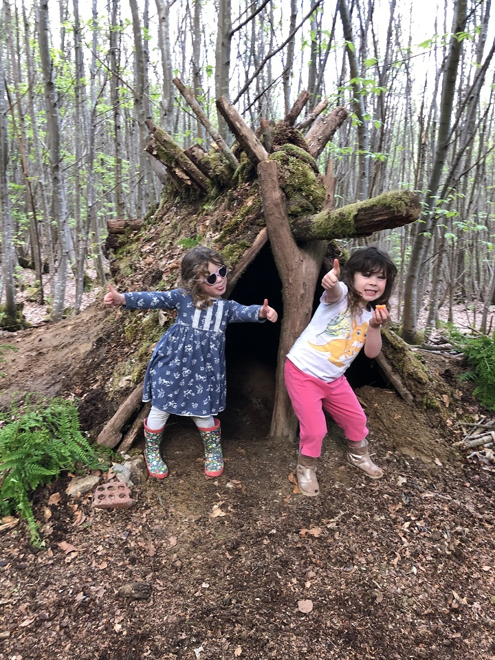 """It's taken several full afternoons to build this den in our woods, only using fallen wood, moss and mud. Our girls love it """"we just need a rainy day to enjoy the hut with marshmallows and hot chocolate"""" says our four year old, Aurelia. """"And a camp fire!"""" Says Bodhi (she's 2)! #WhereWouldYouUseYours"""