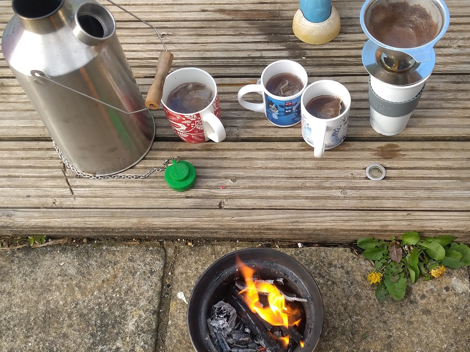 Staying home to stay safe with the kids, so no trips out but still time to use the kelly kettle to keep them happy sadly no marshmallows