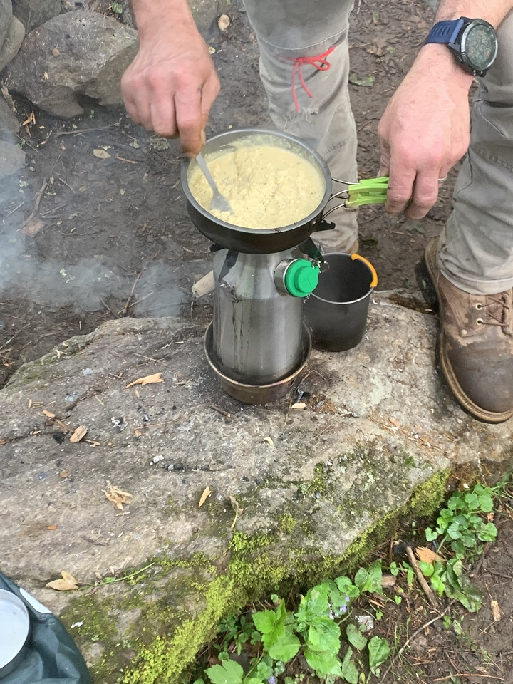 This Memorial Day weekend on Pedlar River in Amherst, Virginia. It's more like a creek but trout are in the waters. My brother and I purchased kelly kettles and this was my first breakfast cooked on mine. Great product and great times.