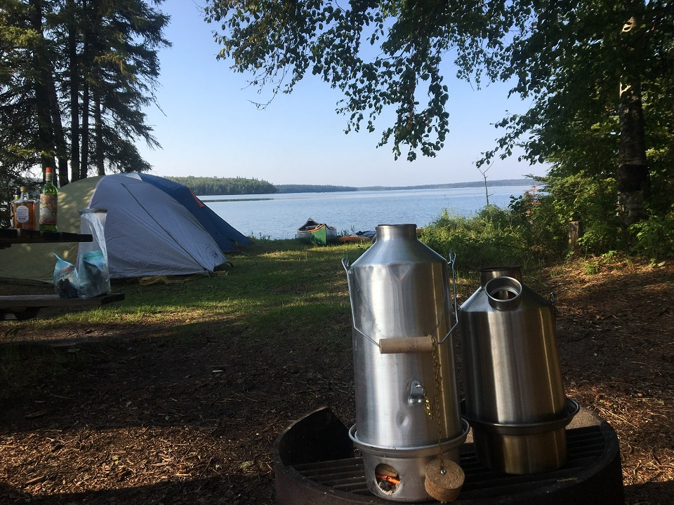 Basecamp and Scout boiling the morning coffee for the paddle out! (Touchwood Lake, Alberta, Canada)