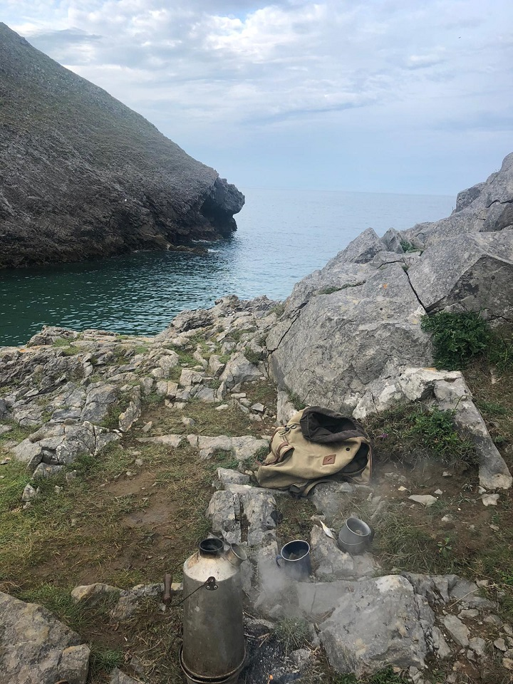 My Dads been a Kelly Kettle user for about 24 years, this is his well loved and well used Kelly in one of the many scenic spots on the Pembrokeshire coast, U.K.