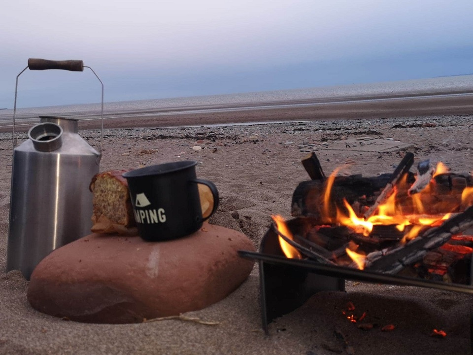 Watching the sun go down with a cuppa on the beach (Allonby Beach Cumbria, UK)