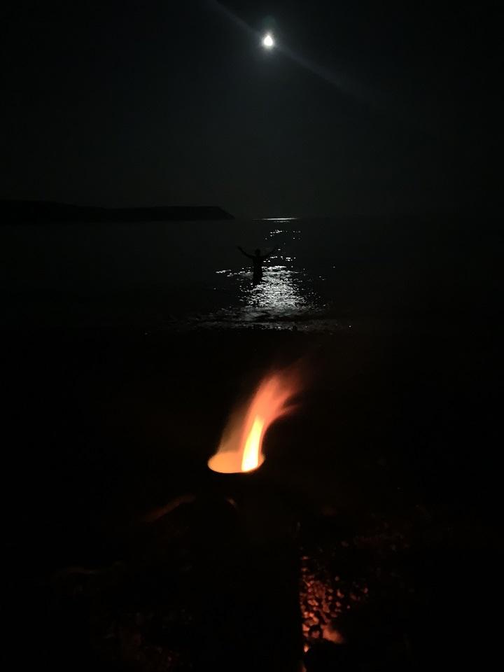 Light House Kelly showing the way after a moonlight dip. (Jurassic Coast, Dorset, U.K.)
