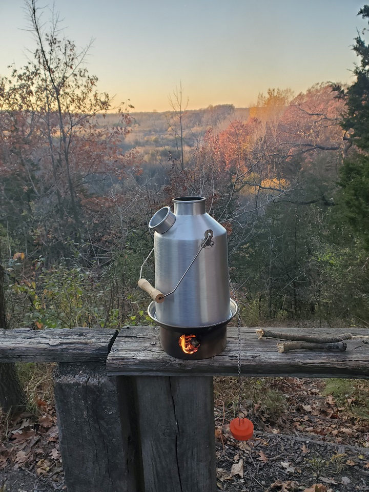 Warming up before a chilly late October night backpacking on the Ice Age Trail. - Ice Age Trail, Eagle Wisconsin, USA