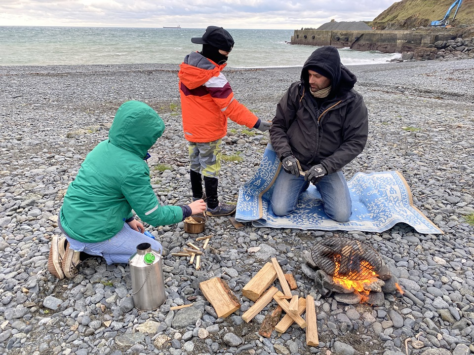 The day before lockdown, we were lucky enough to spend a few hours at the beach. We froze ourselves but enjoyed hot chocolate and marshmallows thanks to our Base Camp Kelly Kettle (the boys' Christmas present from their very cool Aunty, which we have already used loads!)