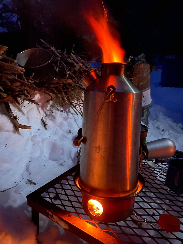 Winter warmth!   (Haliburton, Ontario)  Fire in the hole!