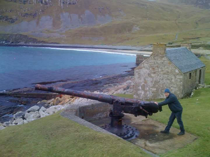 This photo was taken on a work trip to St Kilda, the guns were installed in the bay to protect the residents from German U boats. I would use a Kelly Kettle whilst working in remote locations across the UK and during my voluntary work with Wesssex 4x4 response. (St Kilda Island of the west coast of Scotland, U.K.)