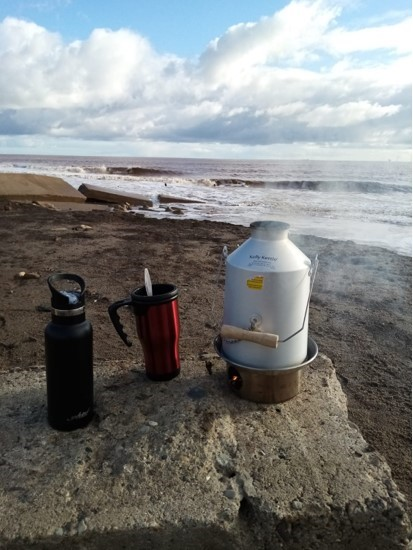 Lockdown over.  Freedom to make coffee anywhere we like./This photo was taken at Kilnsea which is near Spurn Point in East Yorkshire UK. This is a quickly eroding coastline which is different every time we go. It is desolate and stunningly beautiful.  A haven for wildlife, birds, twitchers and walkers.
