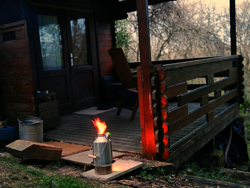 Last brew of the evening made easy with a Kelly Kettle while living off-grid in my wood cabin on the edge of a forest at Hartridge Buddhist Monastery in Upottery near Honiton in East Devon, U.K.