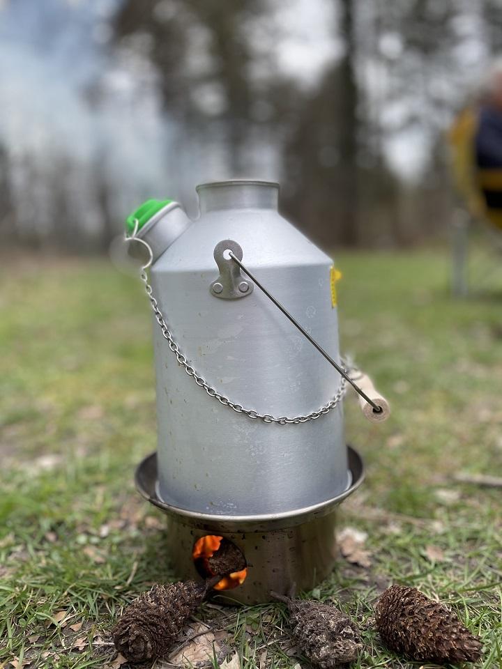 Woodland tea on a cold walk