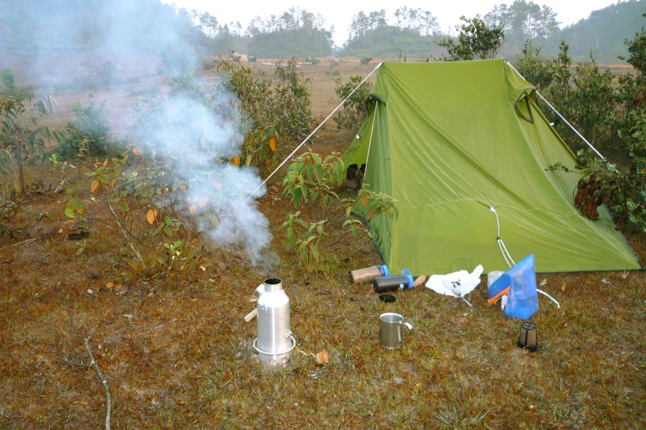 Coffee time, 1200m on Dakchung Plateau, Laos-Vietnam border. March 2010 (Iain Robertson)