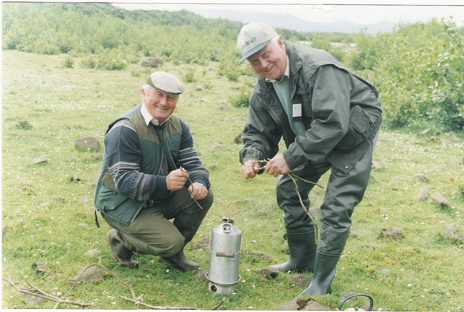 'Founding Fathers' Padraig Kelly & Frank Ellis (RIP) on the shores of Lough Conn, Ireland 1998