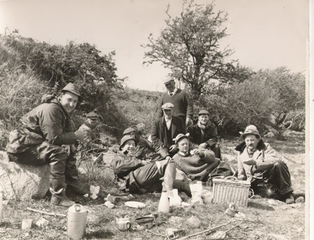Jim Kelly (RIP) seated centre back, enjoying lunch with a Party of Welsh Anglers on Lough Conn 1964