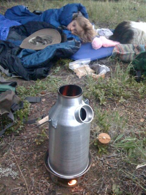 Patrick Deacon - Mini Kettle beside sleeping bags
